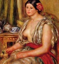 young woman seated in an oriental costume