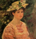 young woman wearing a hat with wild roses