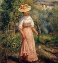 young woman in red in the fields
