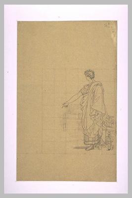Homme drape a l antique debout a cote d un siege designant le sol