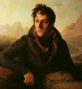 Portrait de Chateaubriand sur fond de paysage montagneux