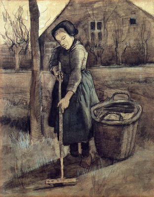 a girl raking