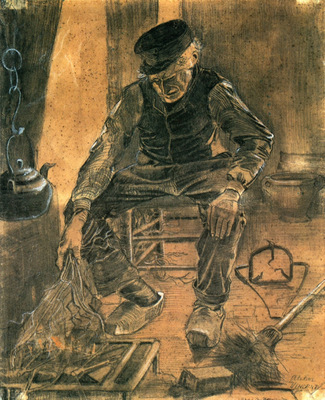 an old man putting dry rice on the hearth