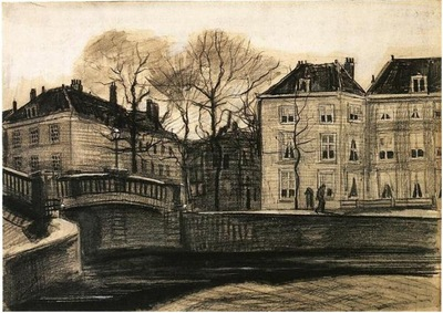 bridge and houses on the corner of herengracht prinsessegracht the hague