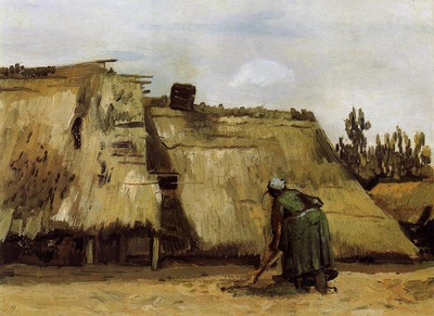 cottage with woman digging