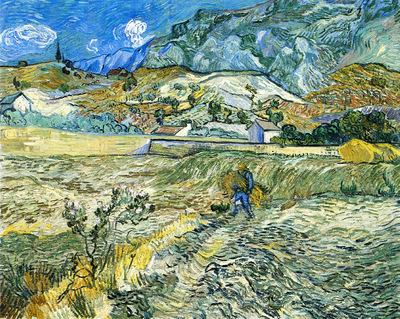 enclosed field with peasant also known as landscape at saint remy