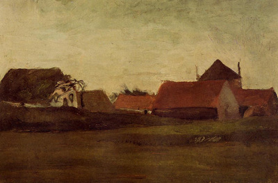farmhouses in loosduinen near the hague in twilight