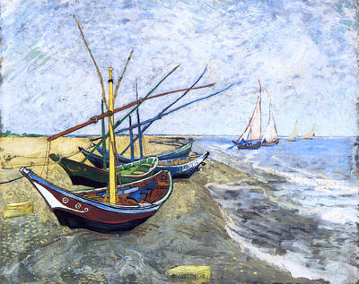 fishing boats on the beach at les saintes maries de la mer