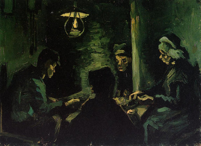 four peasants at a meal