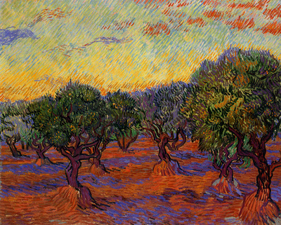 olive trees orange sky