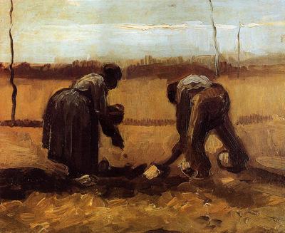peasant man and woman planting potatoes