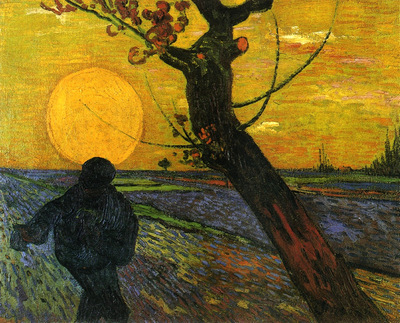sower with setting sun