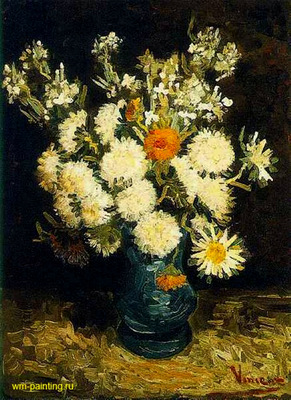 Still Life  Flowers in the Blue Vase