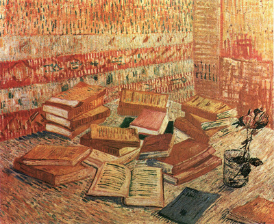 still life  french novels and rose