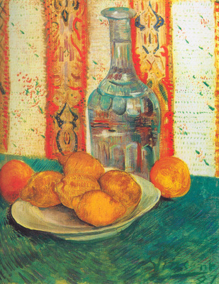 still life with decanter and lemons on a plate