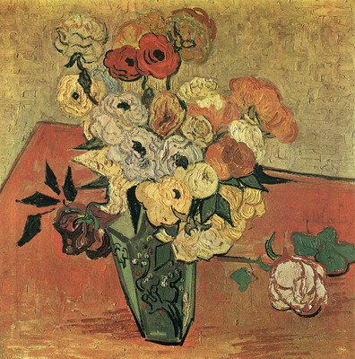 still life with japonise vase roses and anemones