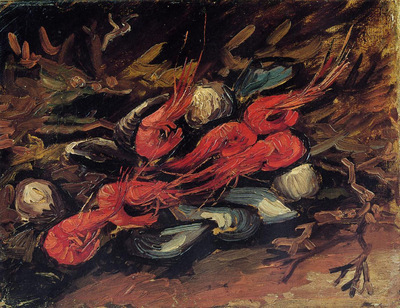 still life with mussels and shrimp