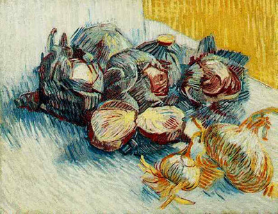 Still Life with Red Cabbages and Onions