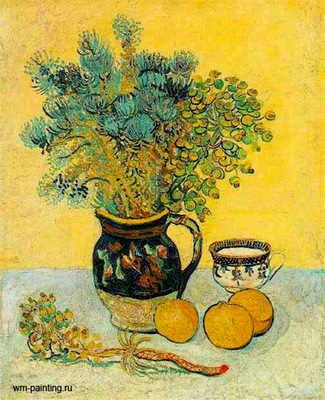 Still Life  Majolica Jug with Wildflowers