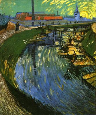 the roubine du roi canal with washerwomen