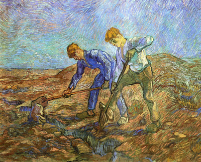 two peasants diging after millet