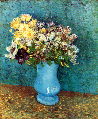 Vase with Flieder Margerites und Anemones