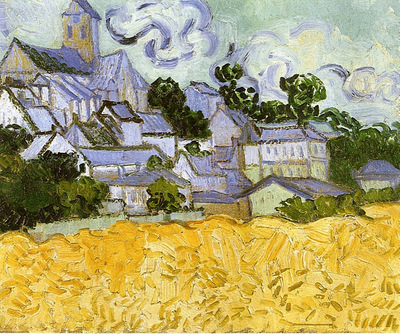 view of auvers with church