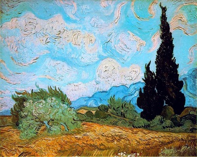 wheat field with cypresses at the haude galline near eygalieres