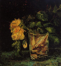 glass with roses