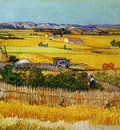 harvest landscape with blue cart