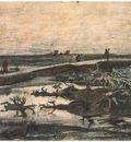landscape with bog oak trunks