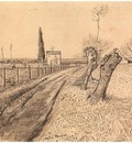 landscape with path and pollard trees
