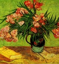 majolica jar with branches of oleander
