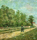 man with spade in a suburb of paris