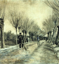 road with pollarded willows and a man with a broom