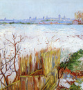snowy landscape with arles in the background