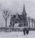 the church in nuenen in winter