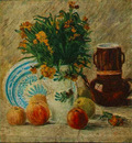Vase with Flowers Coffeepot and Fruit