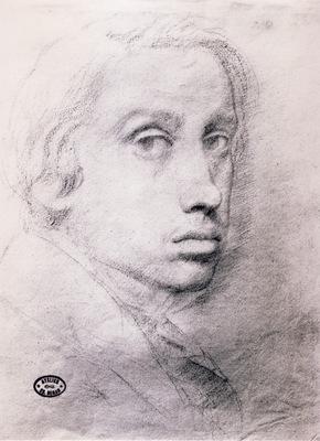 Edgar Degas Etude pour un autoportrait Dessin Sanguine 295x215 cm Providence Rhode Island
