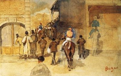 La Sortie du pesage aquarelle et gouache 11x17 cm Boston Gadner museum
