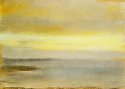 Marine soleil couchant Pastel sur papier jaune clair Collection particuliere