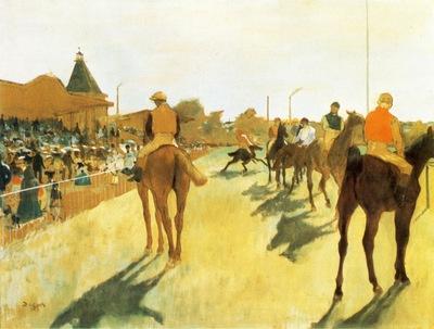 Chevaux de courses devant les tribunes Huile sur Toile 4661 cm Paris musee d Orsay