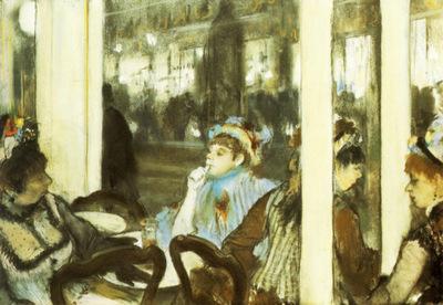 Femmes devant un cafe Pastel sur monotype 41x60 cm Paris musee du Louvre