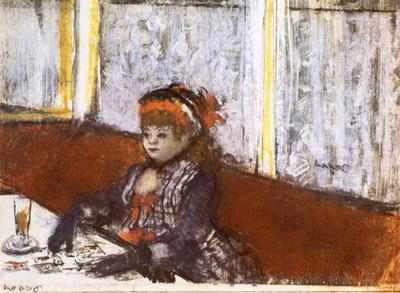 Jeune femme au cafe Pastel sur monotype en encre noire 131x172 cm New York Collection particuliere
