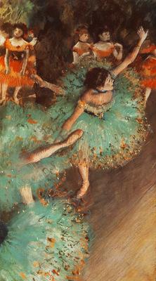 Danseuses basculant Danseuses vertes Pastel 66x36 cm Lugano Collection Thyssen Bornemisza