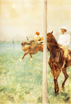 Jockeys avant la course Essence sur carton 180x74 cm Birmingham Barber Institute of Fine Arts