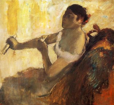 Femme assise tirant son gant jeune femme assise mettant ses gants Huile sur Toile Buffalo Albright Knox Gallery