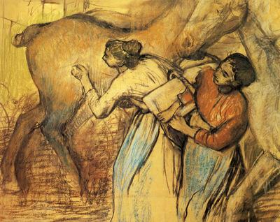 Blanchisseuses et cheval Pastel 107x124 cm Lausanne musee cantonal des Beaux Arts