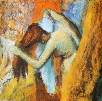 Femme s essuyant Pastel sur papier de soie assemble et colle sur carton 697x724 cm Chicago art Institute