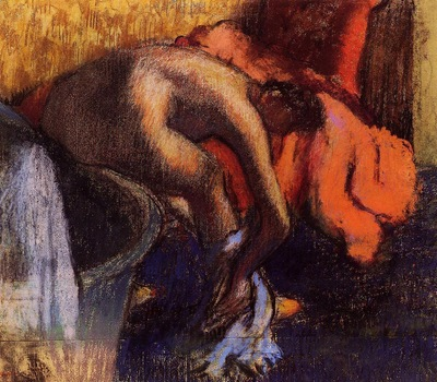 After Bathing Woman Drying Her Leg Private collection Drawing pastel